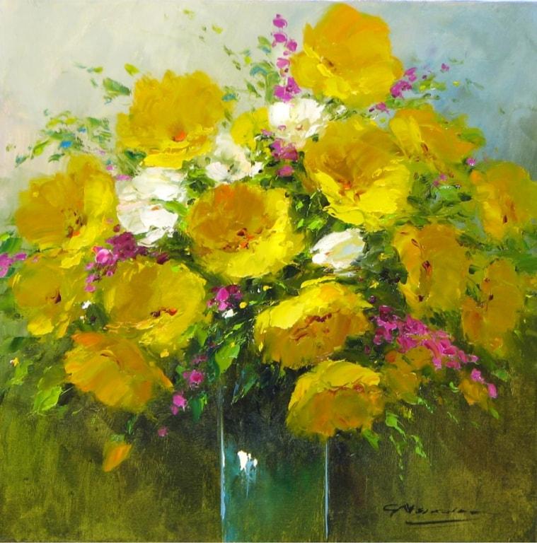109 G Nesvadba - 16 x 16 Yellow Floral 1530