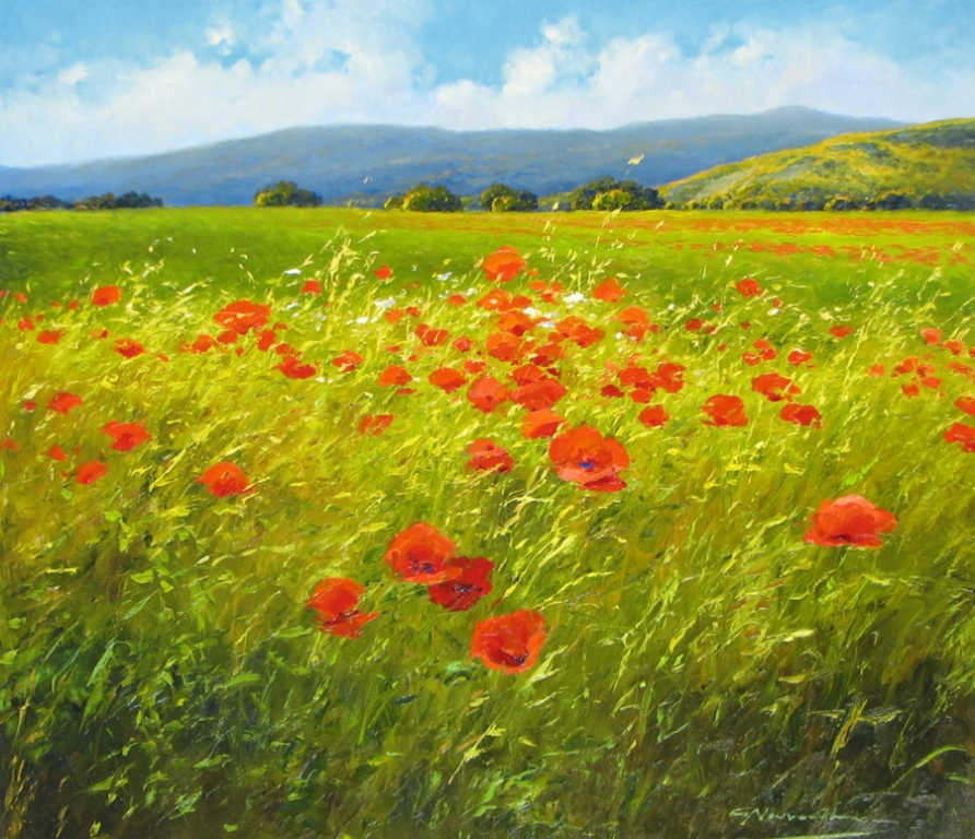 127 G Nesvadba - 27 x 31 Profusion of Poppies 2850