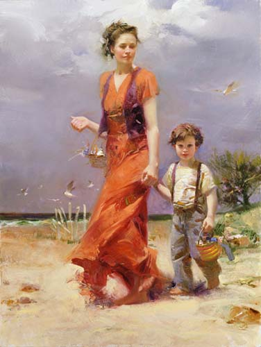 A Day At The Beach by Artist Pino Daeni Artwork