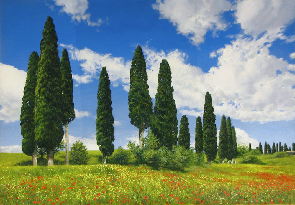 Artist Raffaele Fiore 27 X 39 Beyond the Trees