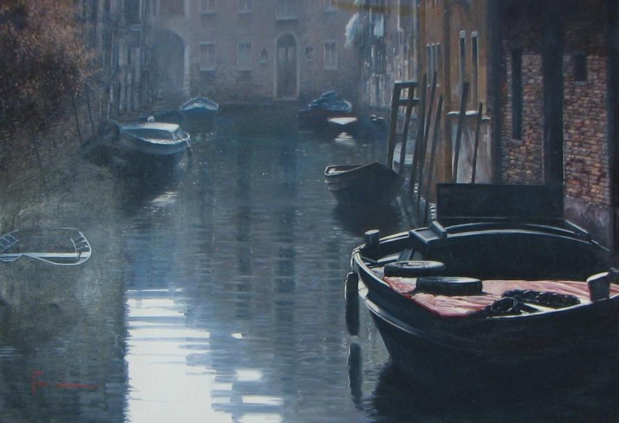 Artist Raffaele Fiore 28 x 39 - Fiore - First Light on the Rio 2800