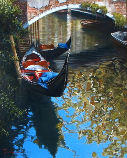 Artist Raffaele Fiore 31 x 23 The Gondola sold