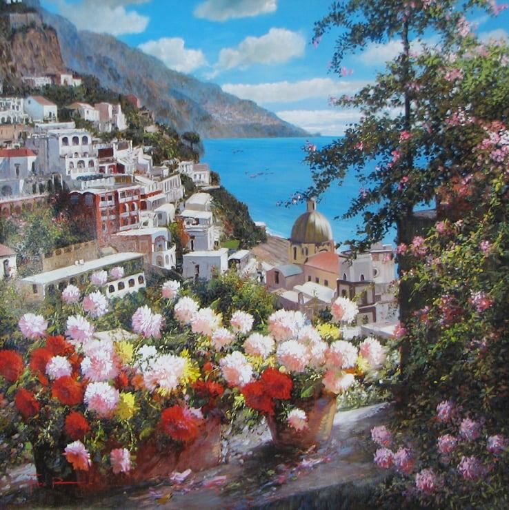 Artist Raffaele Fiore 39 x 39 Fiore View Down the Hillside 3500