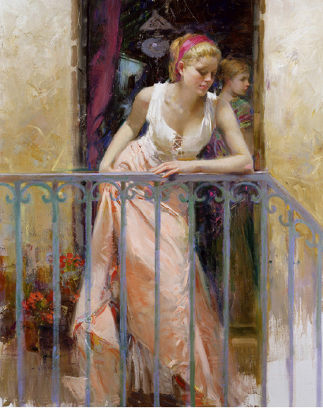 At the Balcony by Artist Pino Daeni Artwork