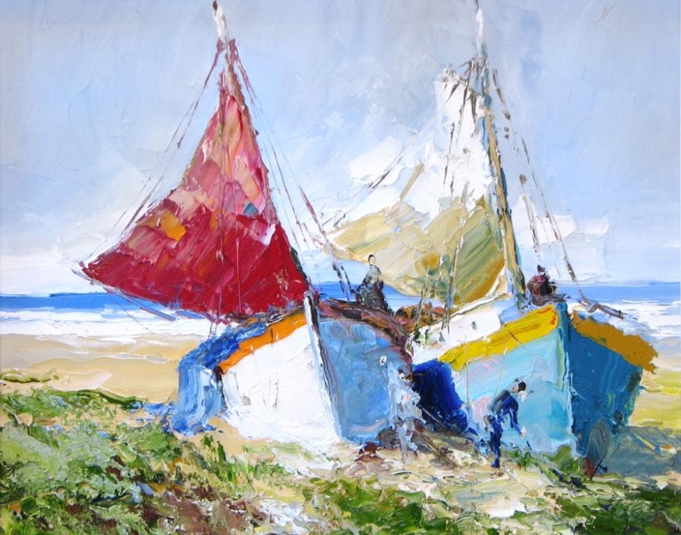 Boats - 24 x 30 - Erich Paulsen Artist - Original Painting - Art Eric Paulsen