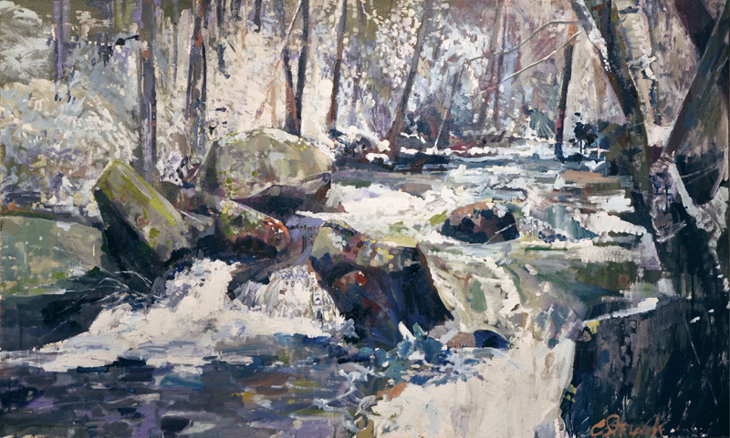 CHRISTOPHER STRUNK ARTIST Cosby TN in Winter ORIGINAL OIL PAINTING