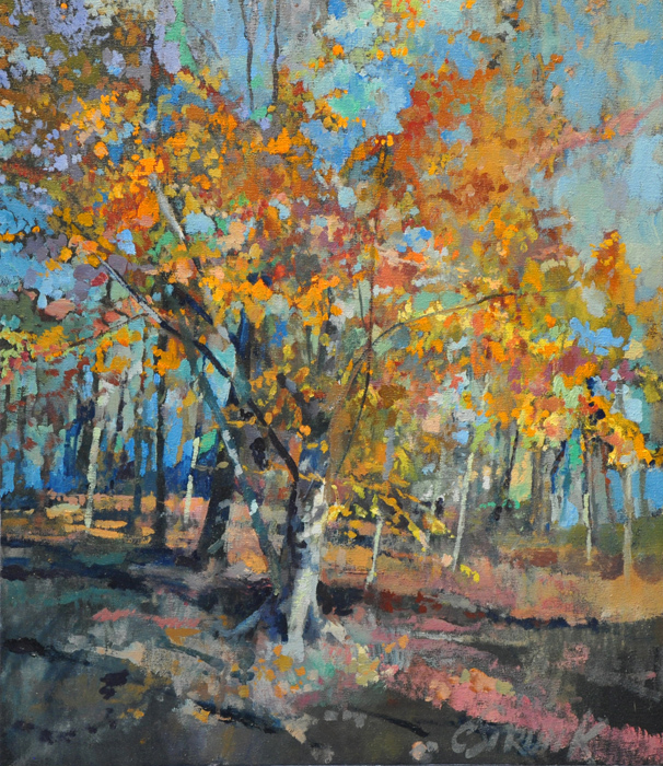 CHRISTOPHER STRUNK ARTIST Fall Tree ORIGINAL OIL PAINTING