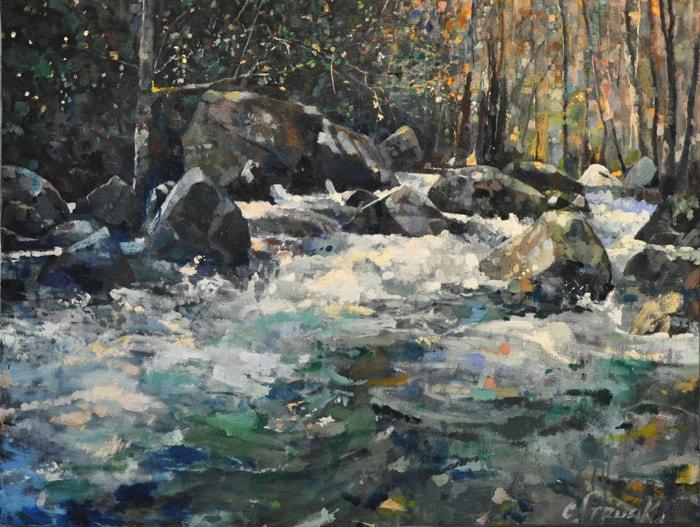 CHRISTOPHER STRUNK ARTIST Mountain Stream ORIGINAL OIL PAINTING