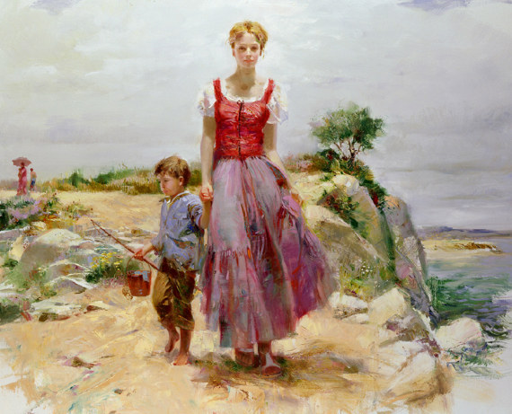 Cliffside Retreat by Artist Pino Daeni Artwork
