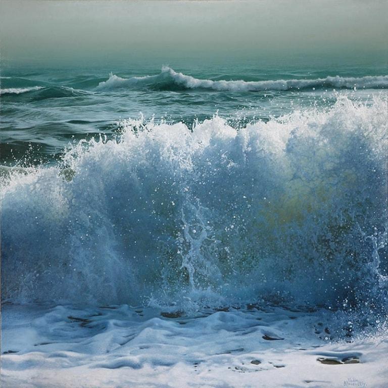 Crashing Blue by Artist Vadim Klevenskiy - Wave Painting