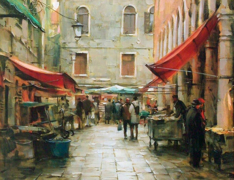 DMITRI DANISH ARTIST - Afternoon on the Market by Dmitri Danish