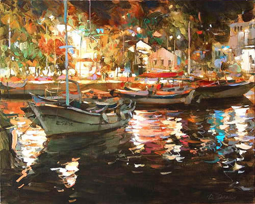 DMITRI DANISH ARTIST - Night at Port by Dmitri Danish