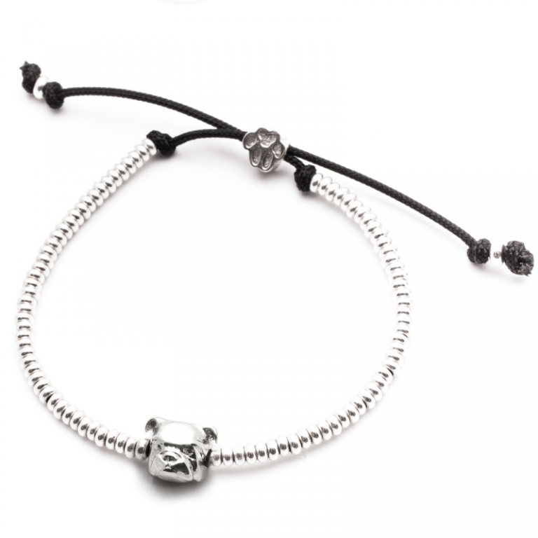 DOG FEVER - DOG HEAD BRACELETS - english bulldog silver head bracelet