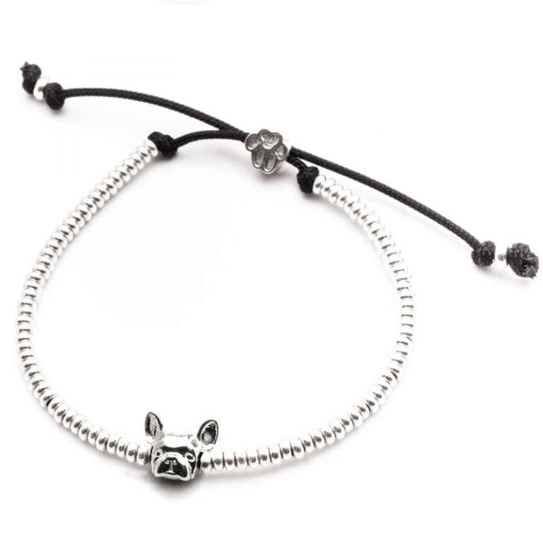 DOG FEVER - DOG HEAD BRACELETS - french bulldog silver head bracelet