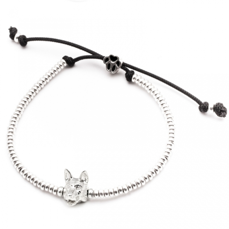 DOG FEVER - DOG HEAD BRACELETS - german shepherd silver head bracelet