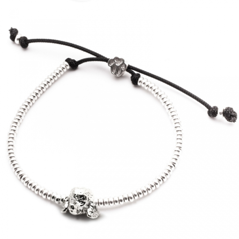 DOG FEVER - DOG HEAD BRACELETS - poodle silver enamelled head bracelet