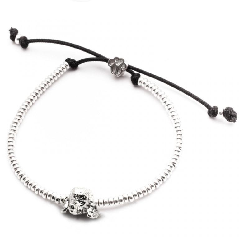DOG FEVER - DOG HEAD BRACELETS - poodle silver enamelled head bracelet