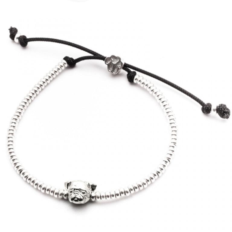 DOG FEVER - DOG HEAD BRACELETS - pug silver head bracelet