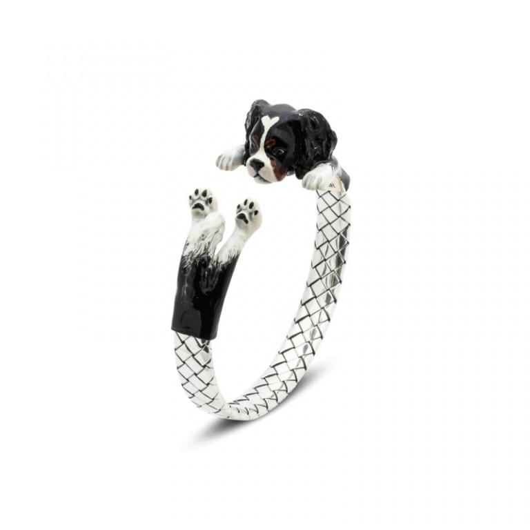 DOG FEVER - ENAMELED HUG BRACELETS - cavalier king enamelled silver hug bracelet
