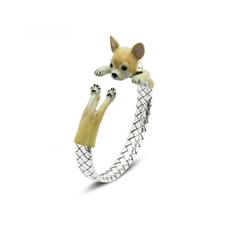 DOG FEVER - ENAMELED HUG BRACELETS - chihuahua enamelled silver hug bracelet