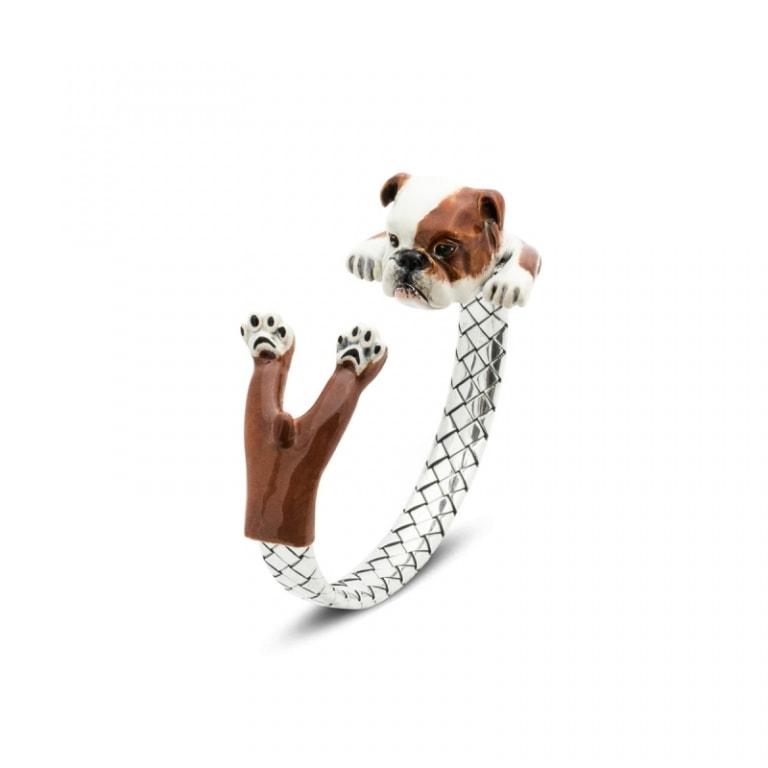 DOG FEVER - ENAMELED HUG BRACELETS - english bulldog enamelled silver hug bracelet