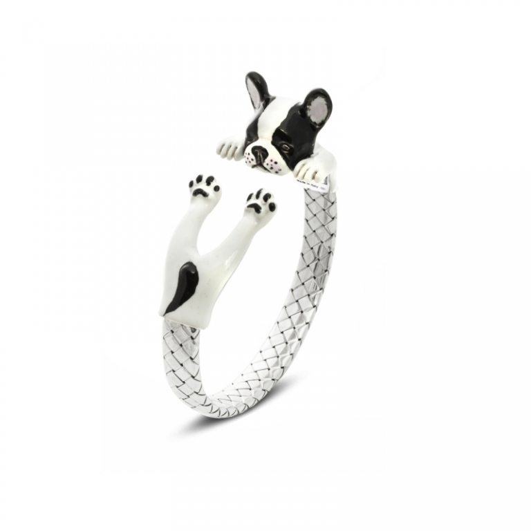 DOG FEVER - ENAMELED HUG BRACELETS - french bulldog enamelled hug bracelet