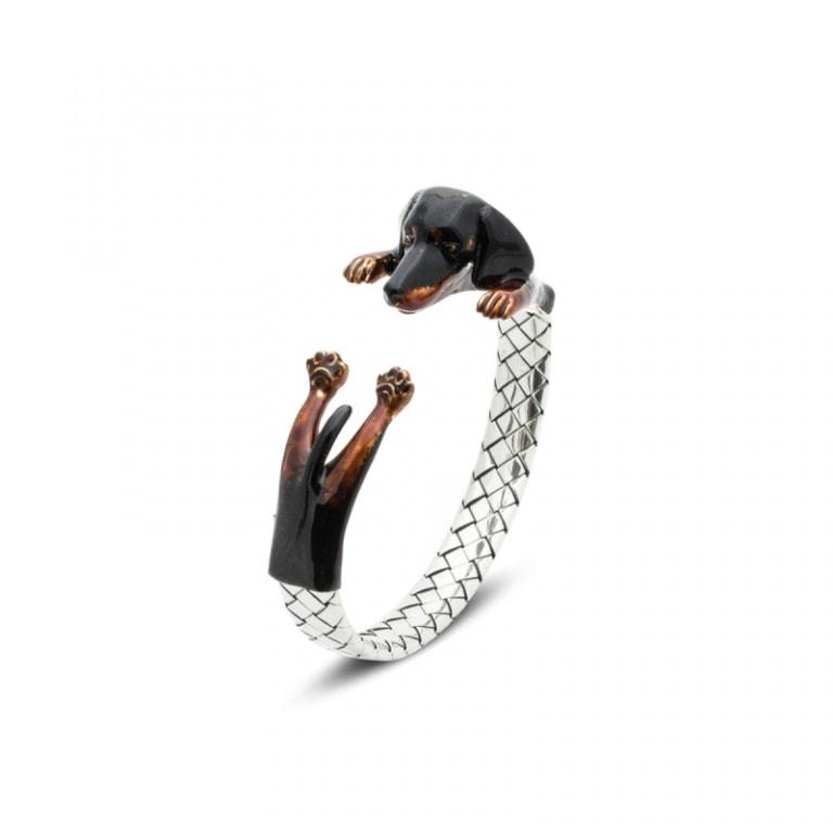 DOG FEVER - ENAMELED HUG BRACELETS - poodle long hair silver enamelled hug bracelet