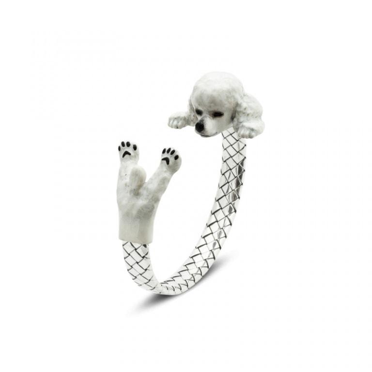 DOG FEVER - ENAMELED HUG BRACELETS - poodle silver enamelled hug bracelet