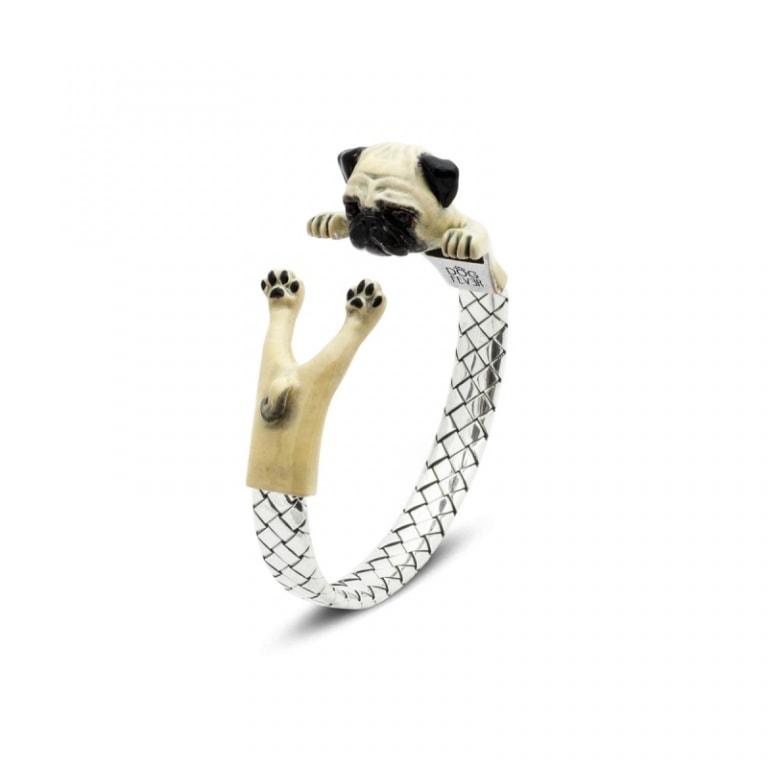 DOG FEVER - ENAMELED HUG BRACELETS - pug enamelled silver hug bracelet
