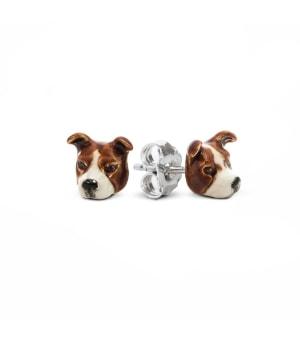 DOG FEVER - ENAMELLED DOG EARRINGS - american staffordshire enameled earrings