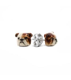 DOG FEVER - ENAMELLED DOG EARRINGS - english bulldog enameled earrings