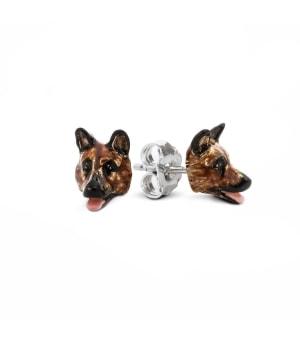 DOG FEVER - ENAMELLED DOG EARRINGS - german shepherd enameled earrings