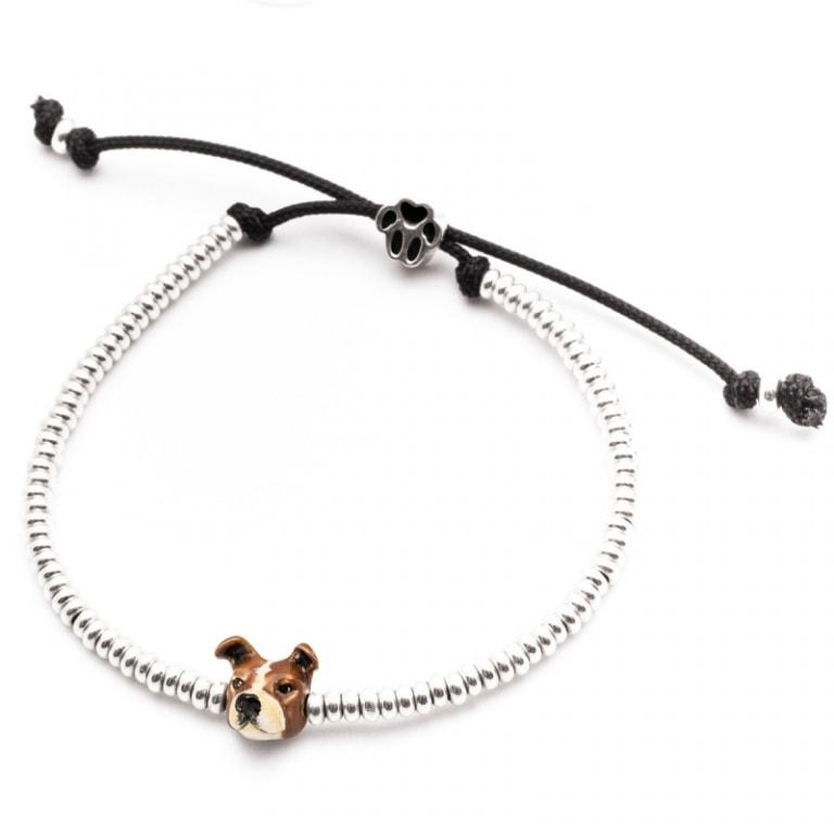 DOG FEVER - ENAMELLED DOG HEAD BRACELETS - american staffordshire silver enamelled head bracelet