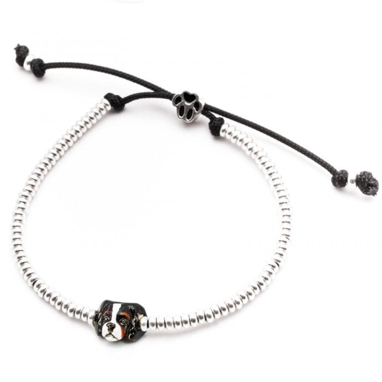DOG FEVER - ENAMELLED DOG HEAD BRACELETS - cavalier king silver enamelled head bracelet