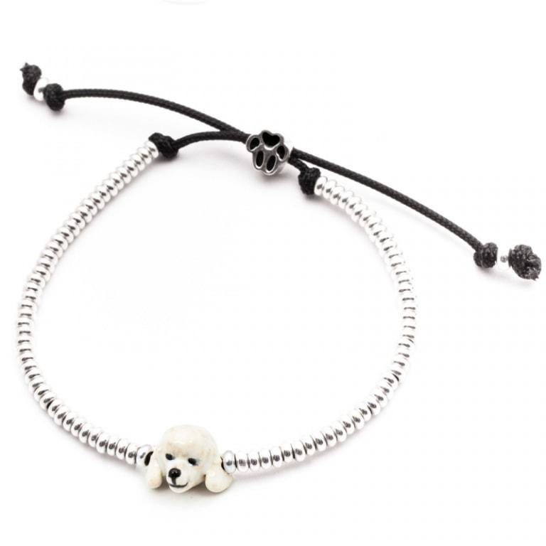 DOG FEVER - ENAMELLED DOG HEAD BRACELETS - poodle silver enamelled head bracelet