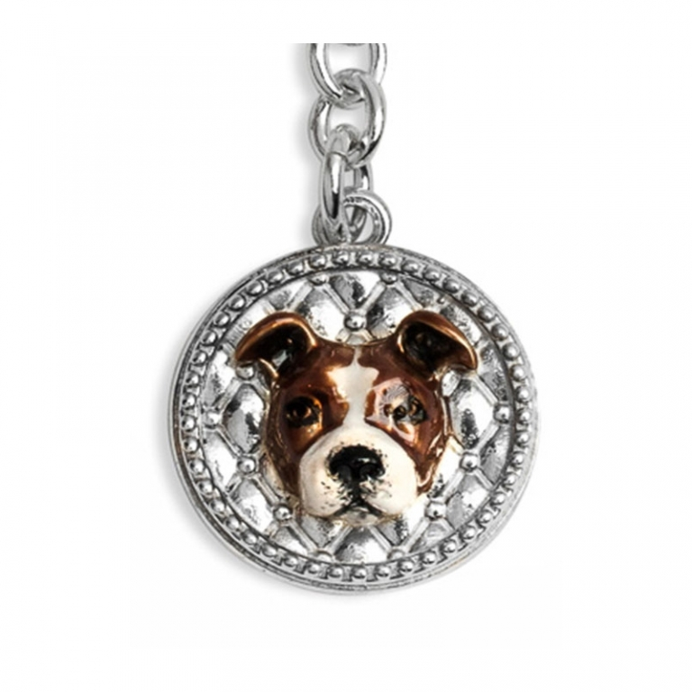 DOG FEVER - ENAMELLED DOG KEY HOLDER -american staffordshire enamelled keyring