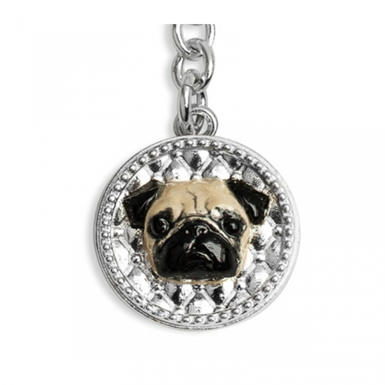 DOG FEVER - ENAMELLED DOG KEY HOLDER - enamelled keyring pug