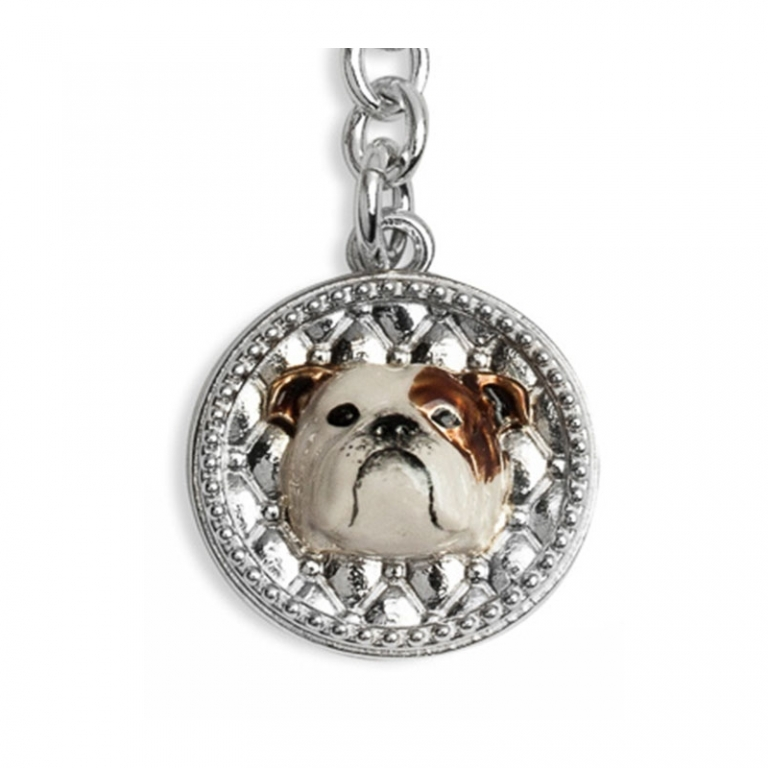 DOG FEVER - ENAMELLED DOG KEY HOLDER - english bulldog enamelled keyring