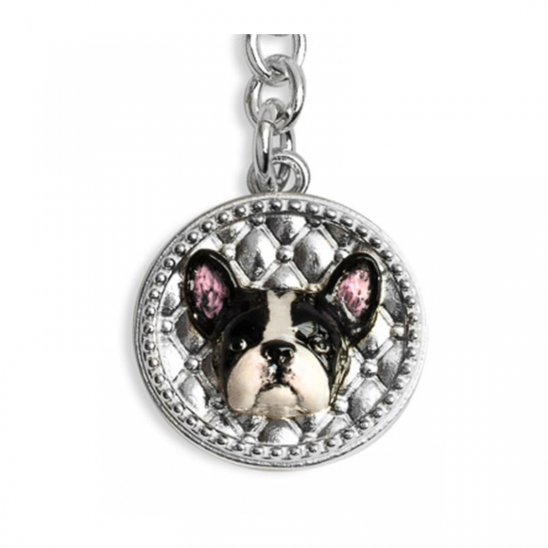 DOG FEVER - ENAMELLED DOG KEY HOLDER - french bulldog enamelled keyring