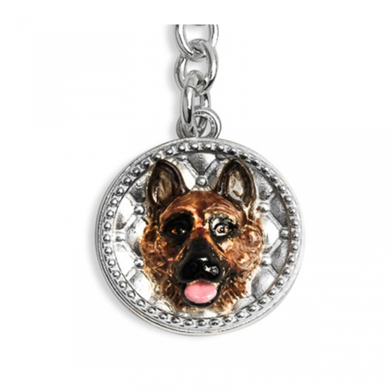 DOG FEVER - ENAMELLED DOG KEY HOLDER - german shepherd enamelled keyring