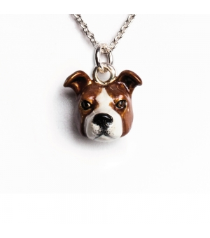 DOG FEVER - ENAMELLED HEAD PENDANT - american staffordshire