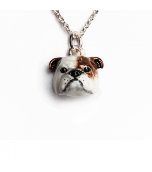 DOG FEVER - ENAMELLED HEAD PENDANT - engish bulldog