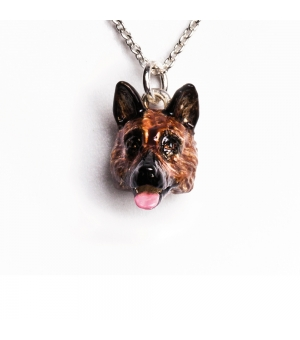 DOG FEVER - ENAMELLED HEAD PENDANT - german shepherd