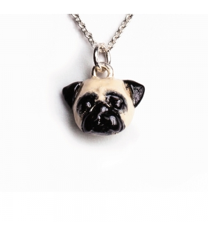 DOG FEVER - ENAMELLED HEAD PENDANT - pug