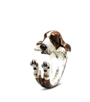 DOG FEVER - ENAMELLED HUG RING - basset hound enameled hug ring