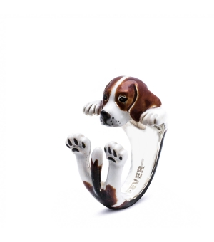 DOG FEVER - ENAMELLED HUG RING - beagle enameled hug ring
