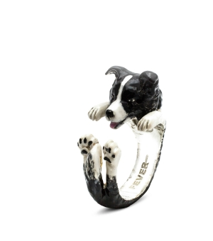DOG FEVER - ENAMELLED HUG RING - border collie enameled hug ring