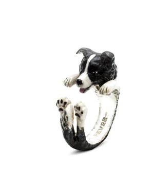 DOG FEVER - ENAMELLED HUG RING - border collie enameled hug ring