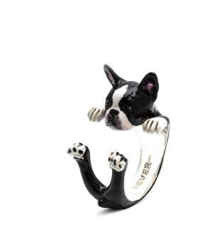DOG FEVER - ENAMELLED HUG RING - boston terrier enameled hug ring