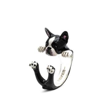 DOG FEVER - ENAMELLED HUG RING - boston terrier enameled hug ring